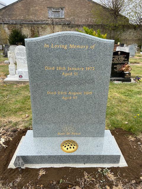 MB111 headstone in karin grey granite