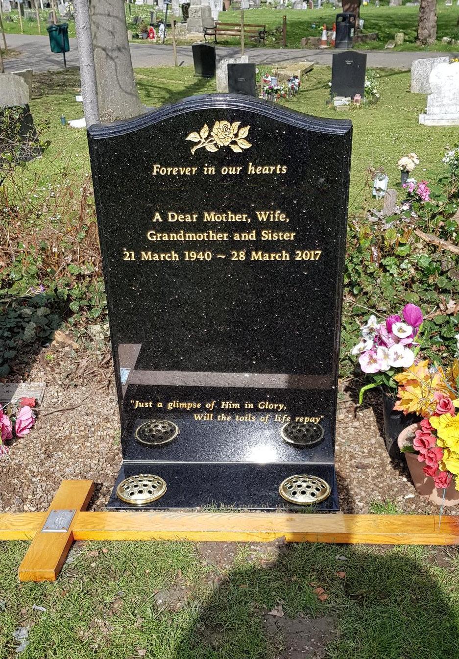 black granite lawn memorial with vase plate