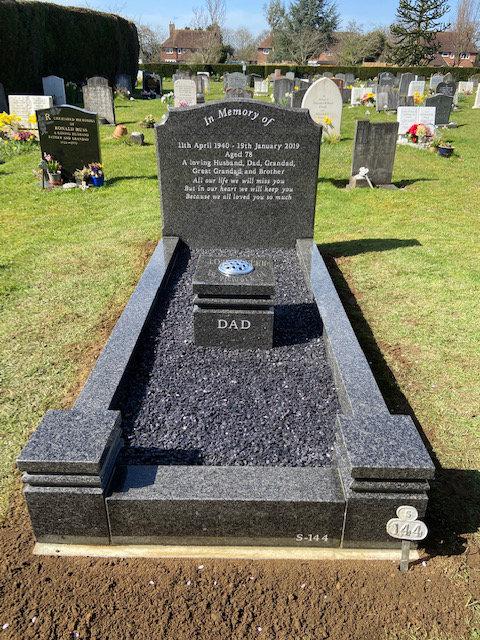 south african dark grey granite full kerb memorial