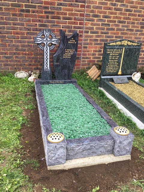 celtic cross bahama blue full kerb memorial