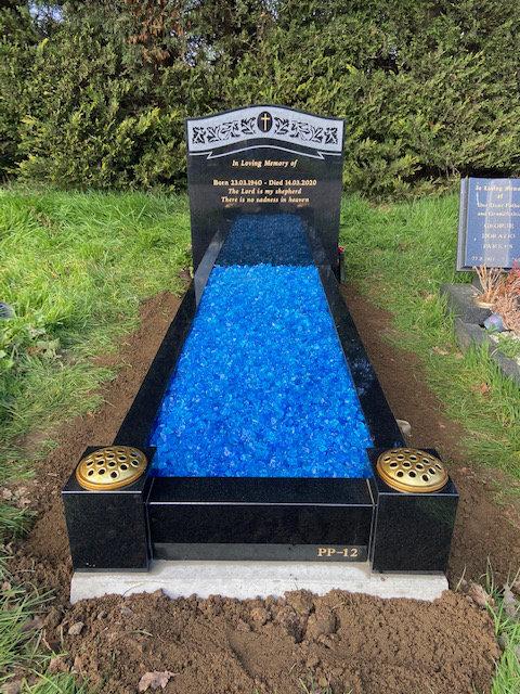 NM-142 black granite full kerb memorial