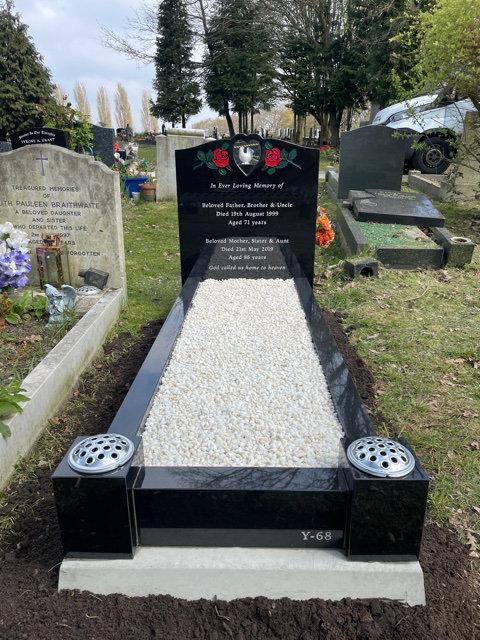 MB132 black granite full kerb memorial