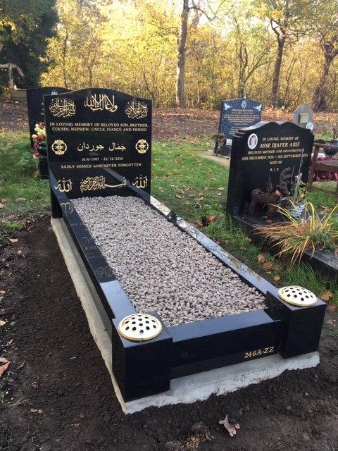 full memorial in black granite