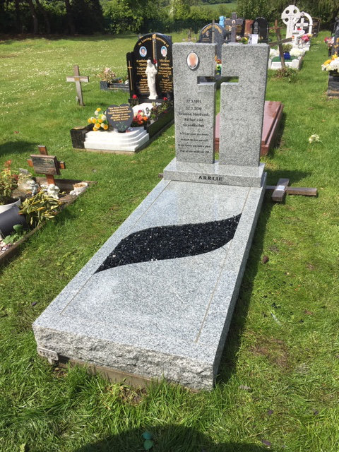 silver grey bespoke granite full memorial