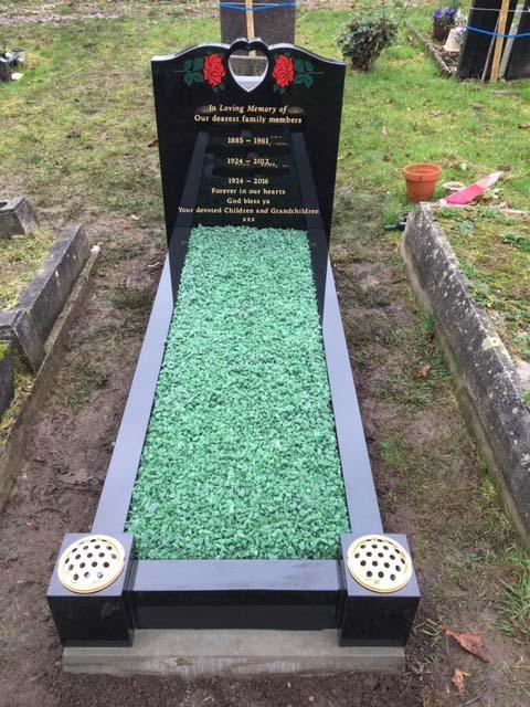 black granite pierced heart memorial
