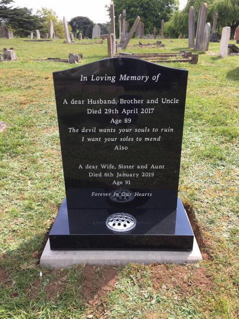 black granite large headstone and base