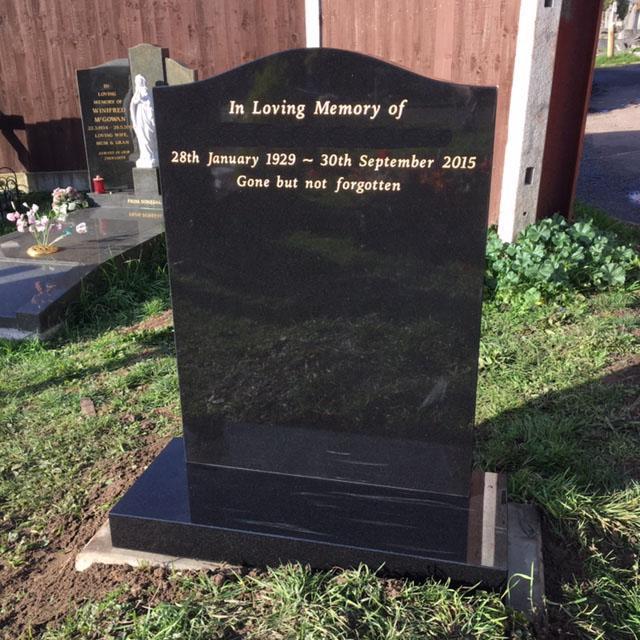 black granite headstone & base
