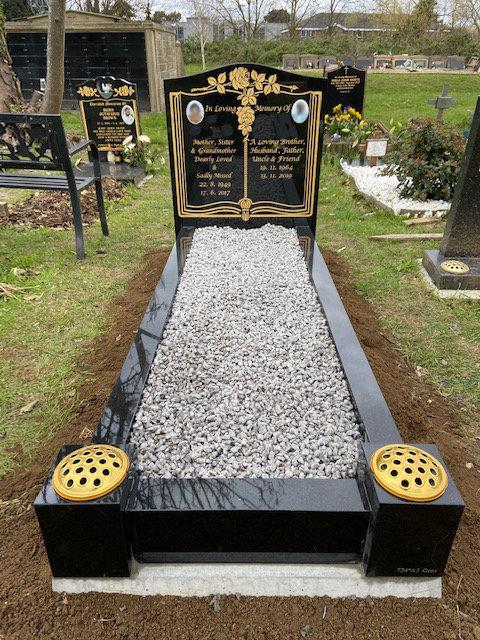 Black Granite full memorial with gold leaf book design