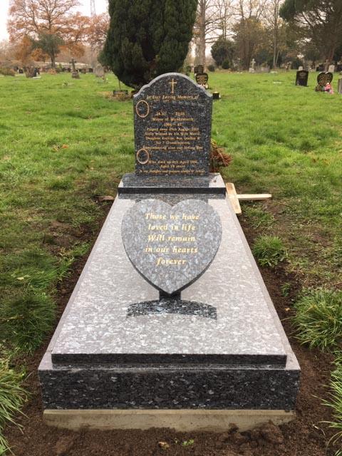 blue pearl full memorial with slab