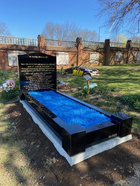 MB133 black granite full kerb memorial