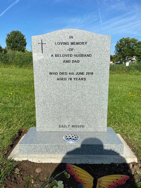 MB112 lawn memorial in honed karin grey granite
