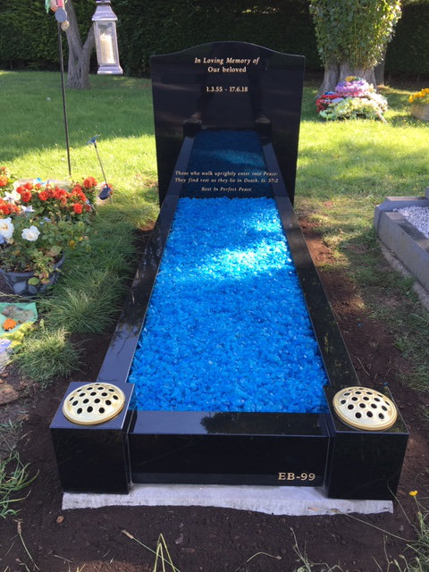 MB-133 in black granite full kerb memorial