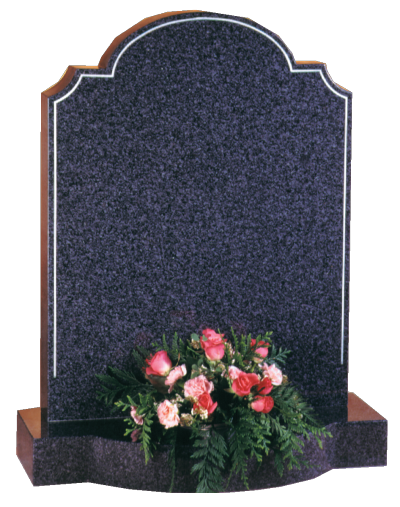 Granite Headstone - Shaped top with scolloped corners