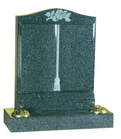 Granite Headstone - Worked book to face, with cord & tassle