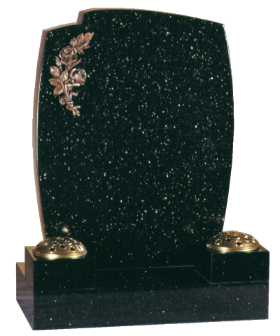 Granite Headstone - Popular design, with collar vases