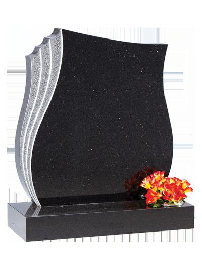 Granite Headstone - Sandblasted & shaped feature edge