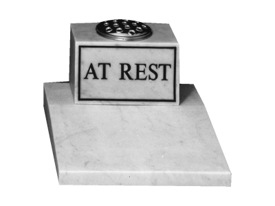 Marble Cremation Memorial - Desk wedge tablet with matching vase