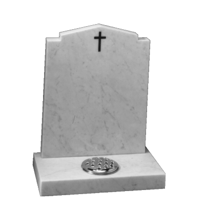 Marble Cremation Memorial - Peon top, check shoulder headstone