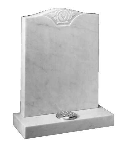 Marble Headstone - Carved central rose to recessed panel