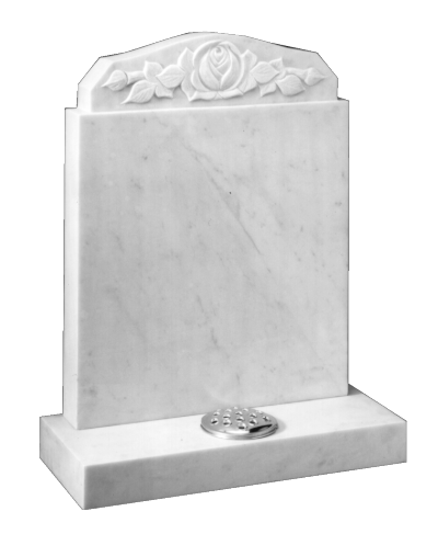 Marble Headstone - Carved rose and leaves design