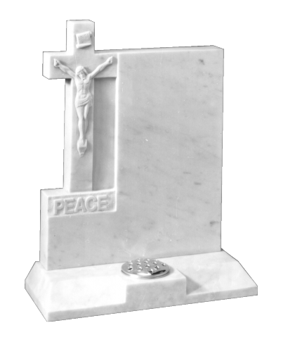 Marble Headstone - Hand carved cross and 'Jesus' design