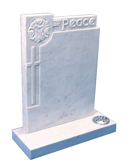 Marble Headstone - Hand carved floral pattern