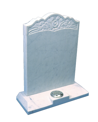 Marble Headstone - Shaped top with carved rose panel