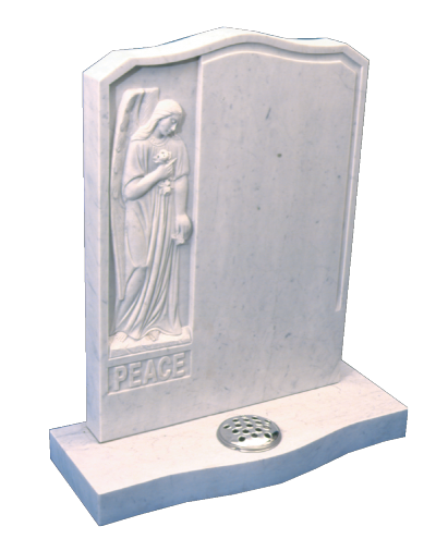 Marble Headstone - Beautifully hand carved Angel to inset panel