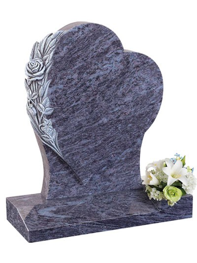 Granite Lawn Heart With Carved Roses