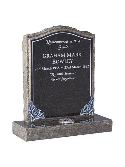 Granite Rustic Headstone - Feature keyline and roses