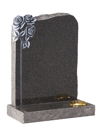 Granite Rustic Headstone - Prominent hand carved roses