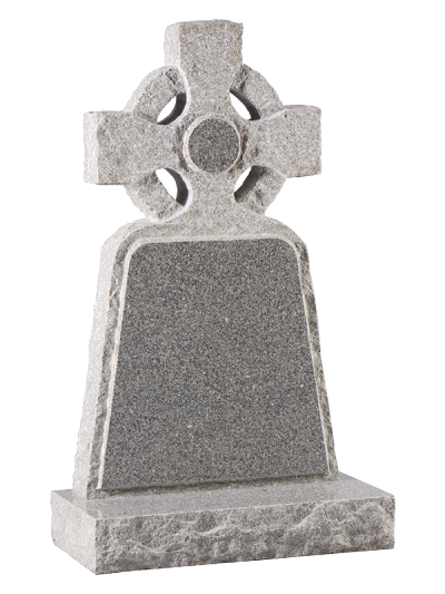 Granite Rustic Headstone - Rustic edged celtic cross