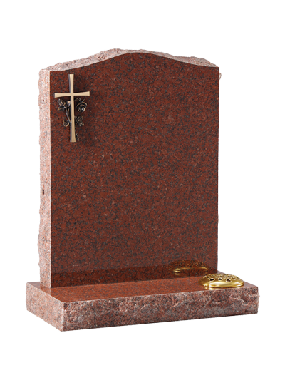 Granite Rustic Headstone - Bronze type cross