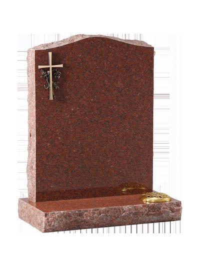 Granite Rustic Headstone - Bronze type cross