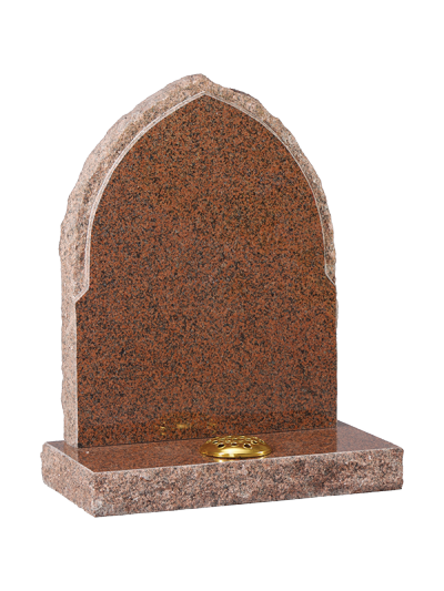 Granite Rustic Headstone - Gothic design with rustic rebate edge