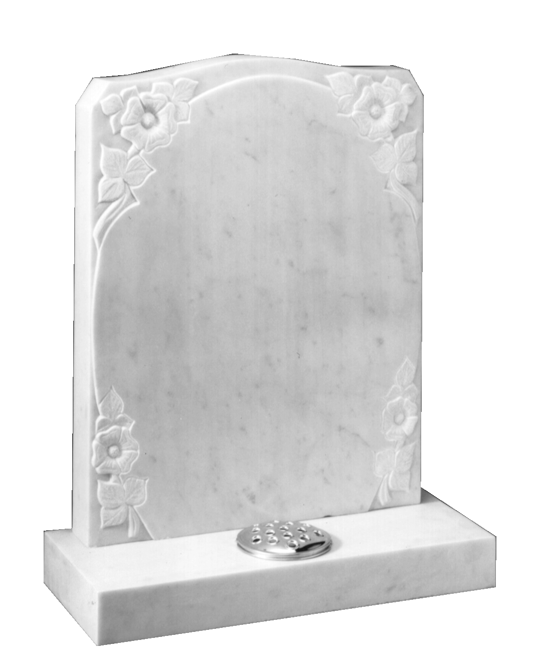 Buy Marble Headstone Carved Roses Around Oval Panel