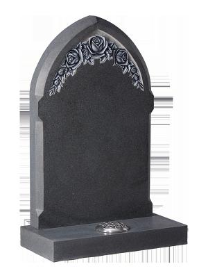 Honed Granite Headstone - Gothic shape top with beveled edge