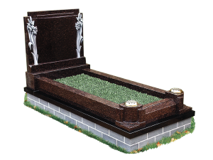 Exclusive Granite Kerb Surround - Thai brown carved headstone