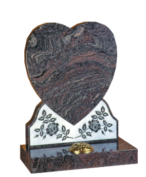 Granite Headstone - Beautiful shaped heart