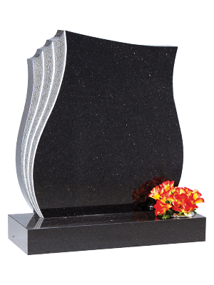 Granite Headstone - Sandblasted & shaped feature edge