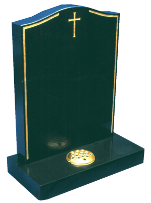 Granite Headstone - Gold keyline & cross design