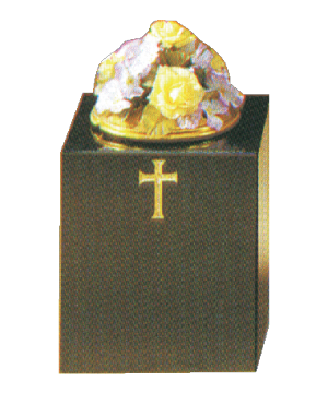 Granite Vase - With gold cross design