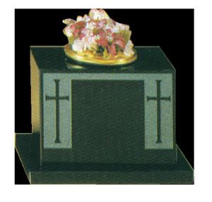 Granite Vase - Sandblast cross design