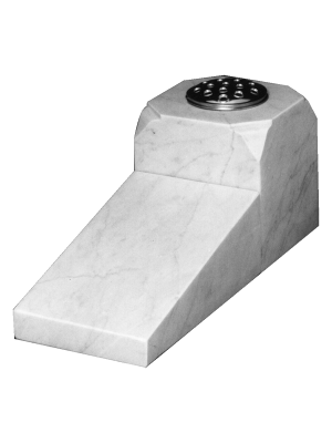 Marble Cremation Memorial - Wedge tablet with shaped vase