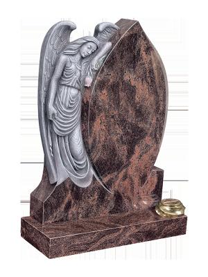 Granite Headstone - Angel resting on a shaped inscription panel