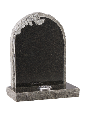 Granite Rustic Headstone - Oval top with rustic sides
